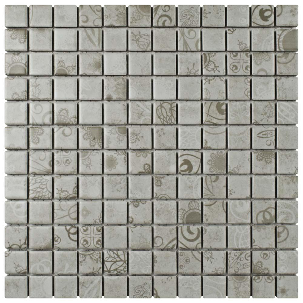 Merola tile geobright white 11 58 in x 11 58 in x 6 mm laceo grey 11 58 in x 11 58 in dailygadgetfo Gallery