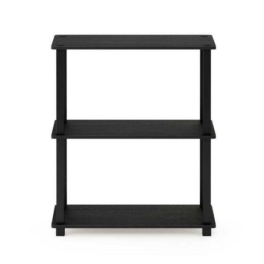Furinno Turn-S-Tube Americano/Black 3-Tier Compact Multipurpose Shelf Display Rack with Square Tube