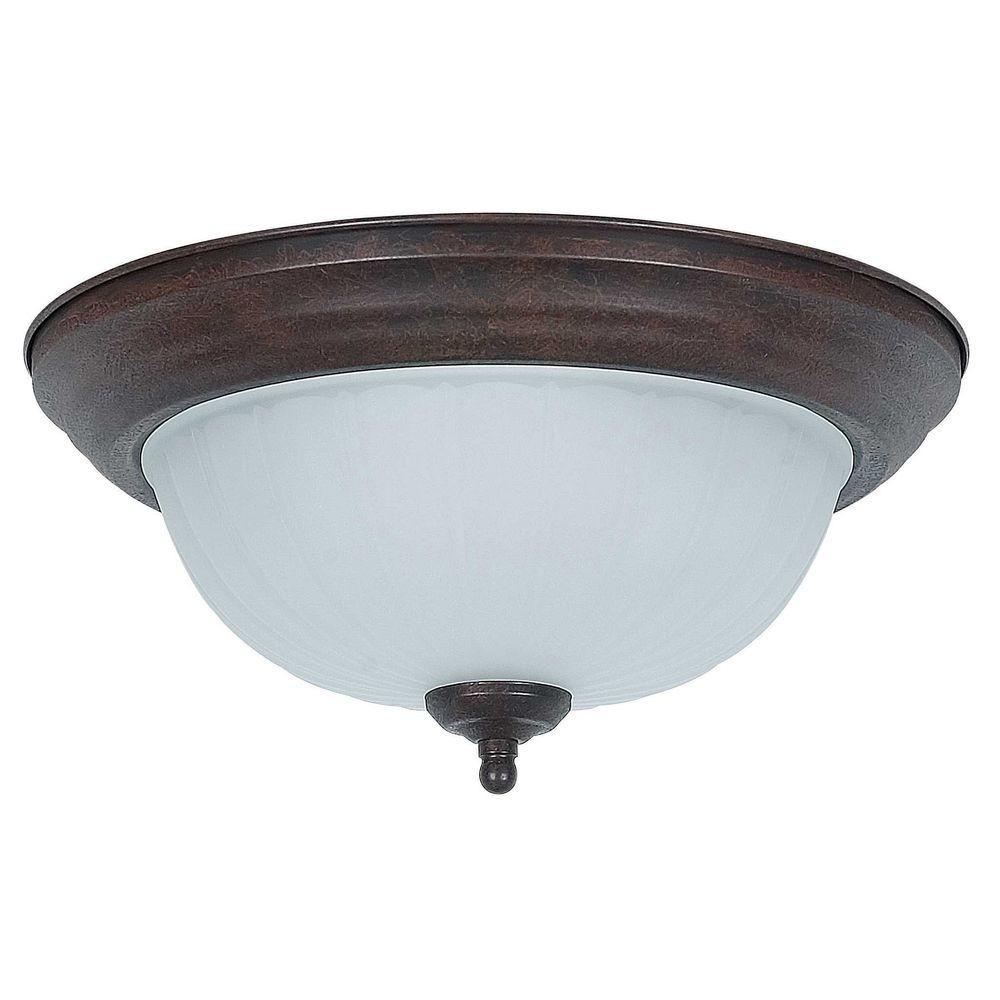 Luminance 2-Light Rubbed Bronze Flush Mount-F7117-62 - The Home Depot
