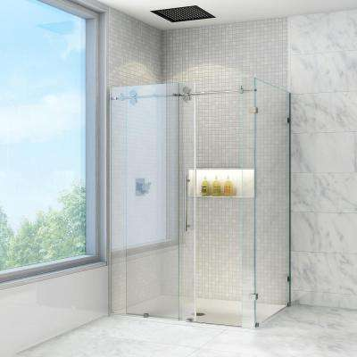 Winslow 57.75 in. x 74 in. Frameless Bypass Shower Enclosure in Stainless Steel with Clear Glass