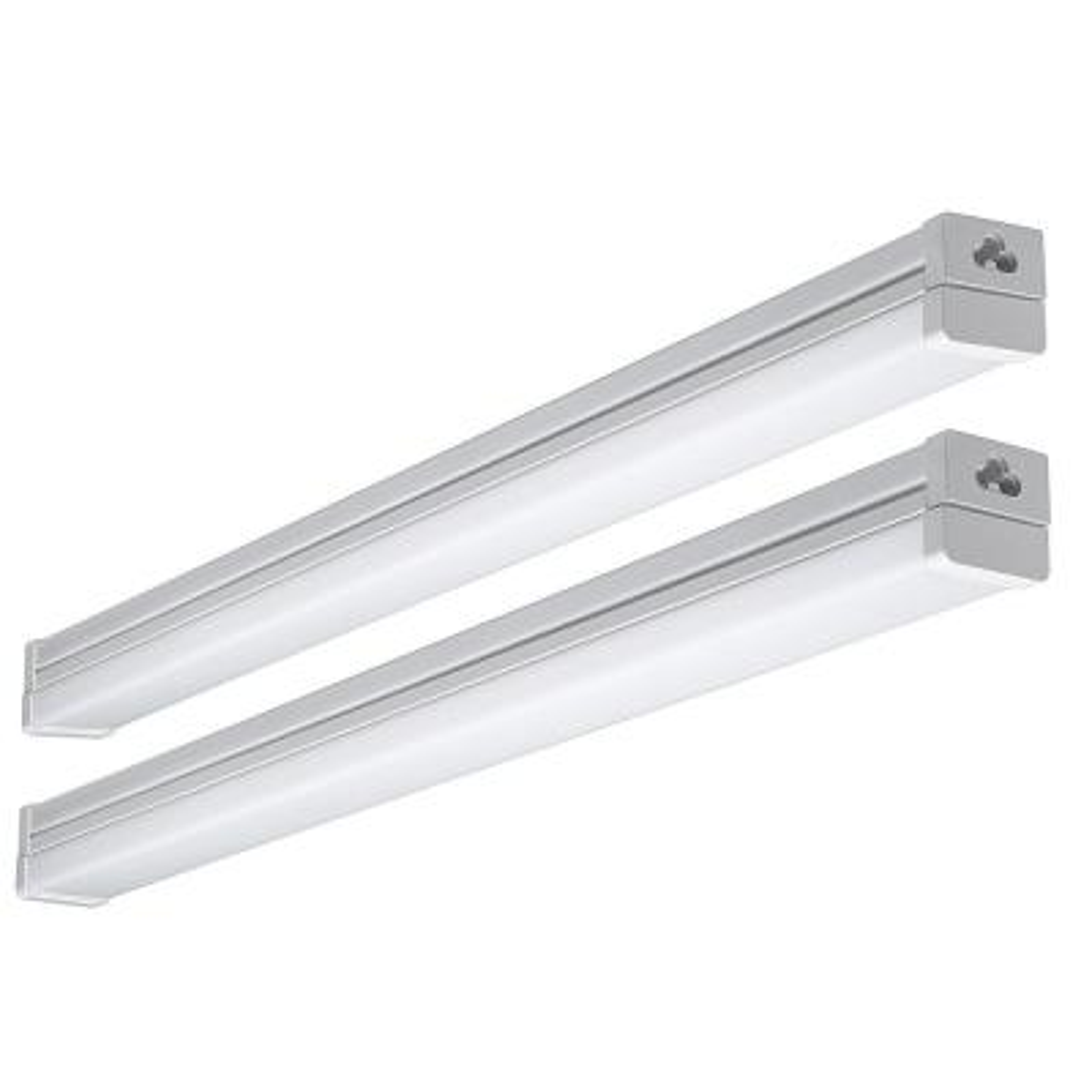 2 ft. 100-Watt Equivalent Integrated LED High Output White Strip Light Fixture 1800 Lumens 4000K Bright White (2-Pack)