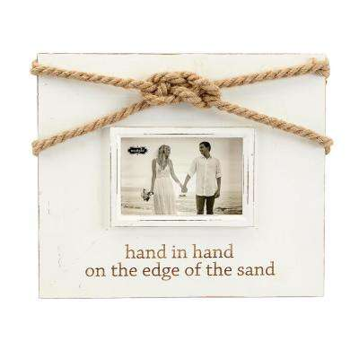 Wedding 5 in. x 7 in. Distressed White Wash Painted Pine Wood Hand in Hand Picture Frame