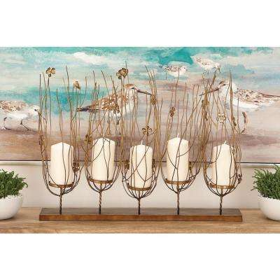 21 in. Polished Bronze Iron Flowers and Branches 5-Pedestal Candle Holder