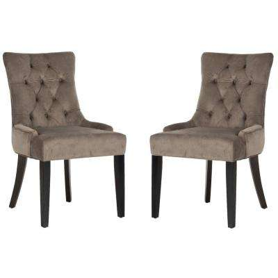Abby Mushroom Taupe/Espresso Cotton Side Chair (Set of 2)