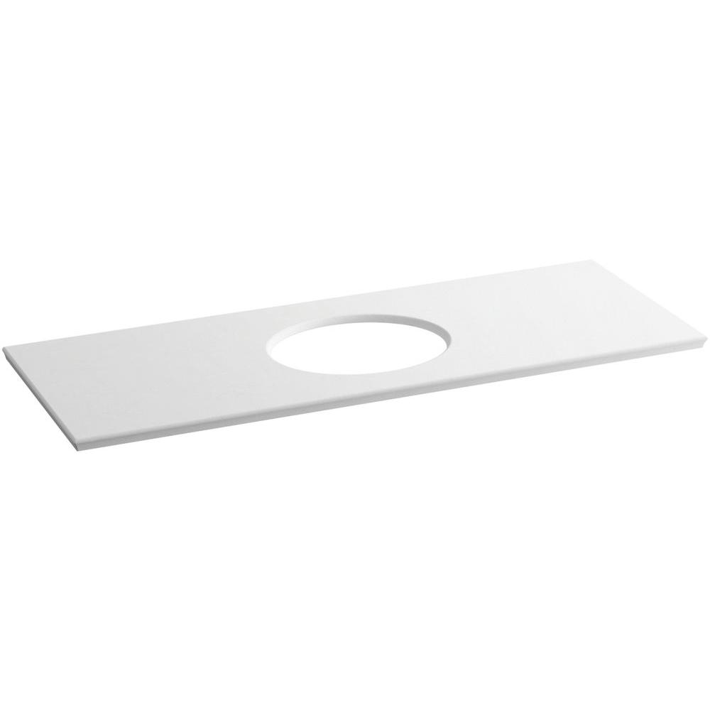 Solid/Expressions 61.625 in. Solid Surface Vanity Top in White Expressions