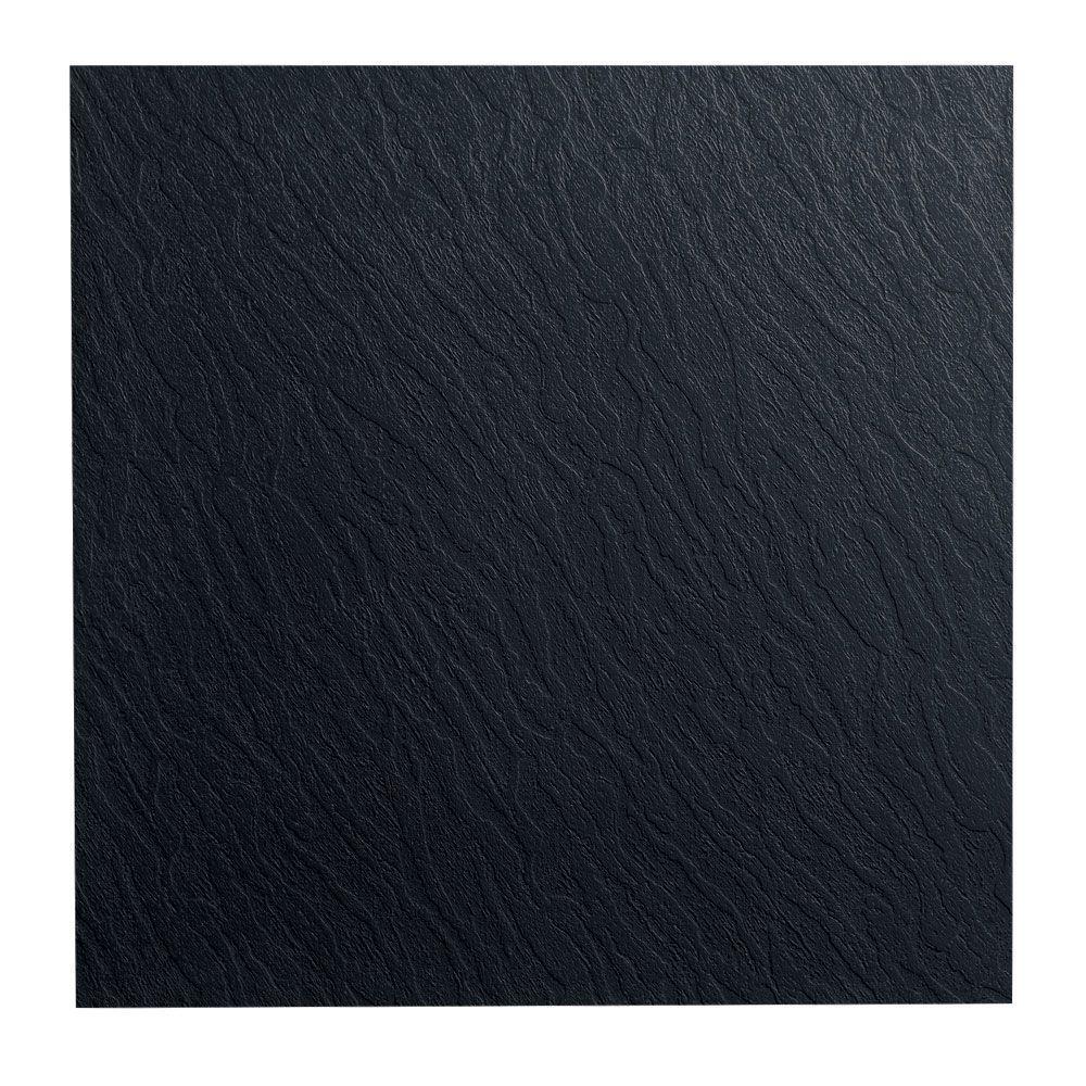 ROPPE Slate Design 19.69 in. x 19.69 in. Black Dry Back Rubber Tile Flooring