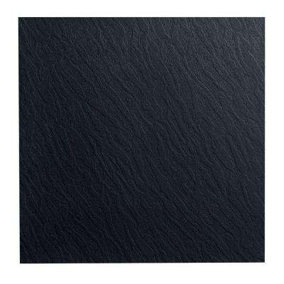 Slate Design 19.69 in. x 19.69 in. Black Dry Back Rubber Tile Flooring