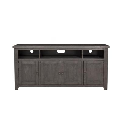 Foundry Gray Metal TV Stand Fits TVs Up to 70 in. with Adjustable Shelves