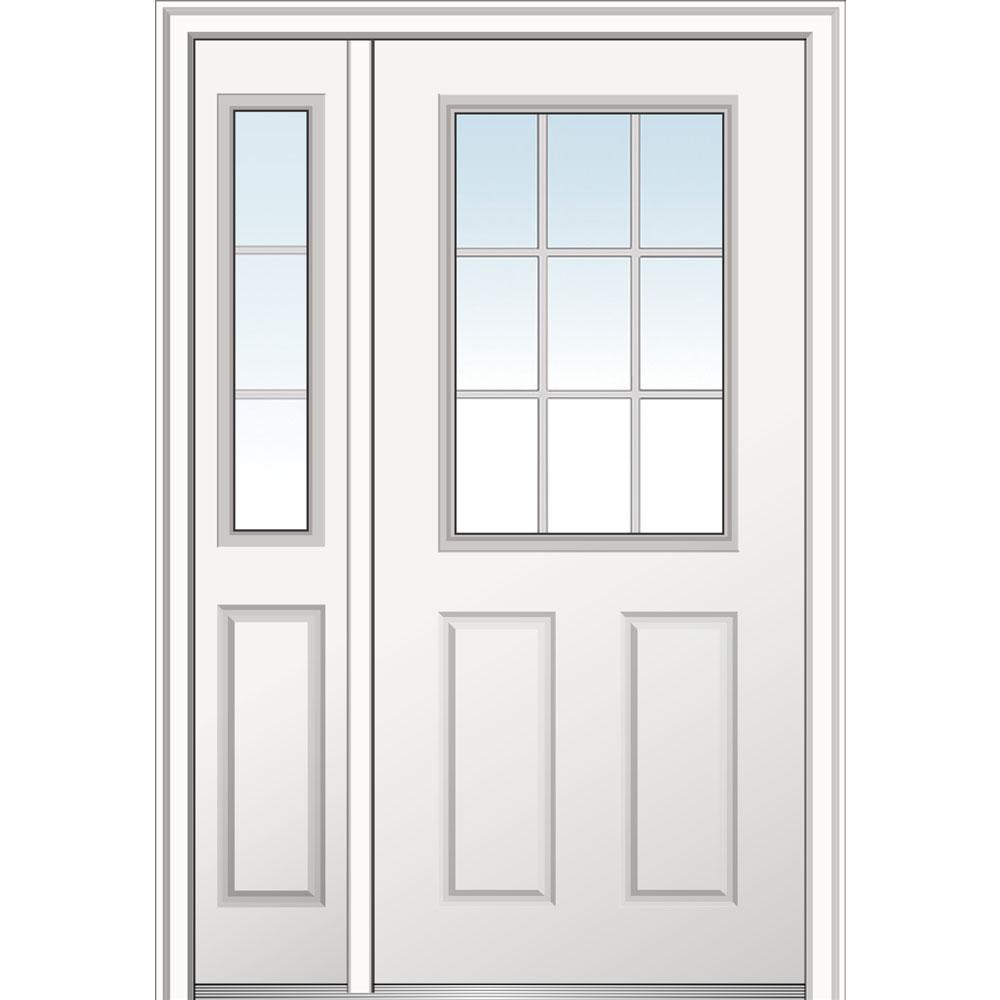 48 in. x 80 in. Internal Grilles Left Hand 1/2 Lite 2-Panel Classic Primed Steel Prehung Front Door with Sidelite