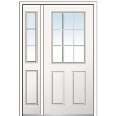 50 in. x 80 in. Internal Grilles Left Hand 1/2 Lite 2-Panel Classic Primed Steel Prehung Front Door with Sidelite