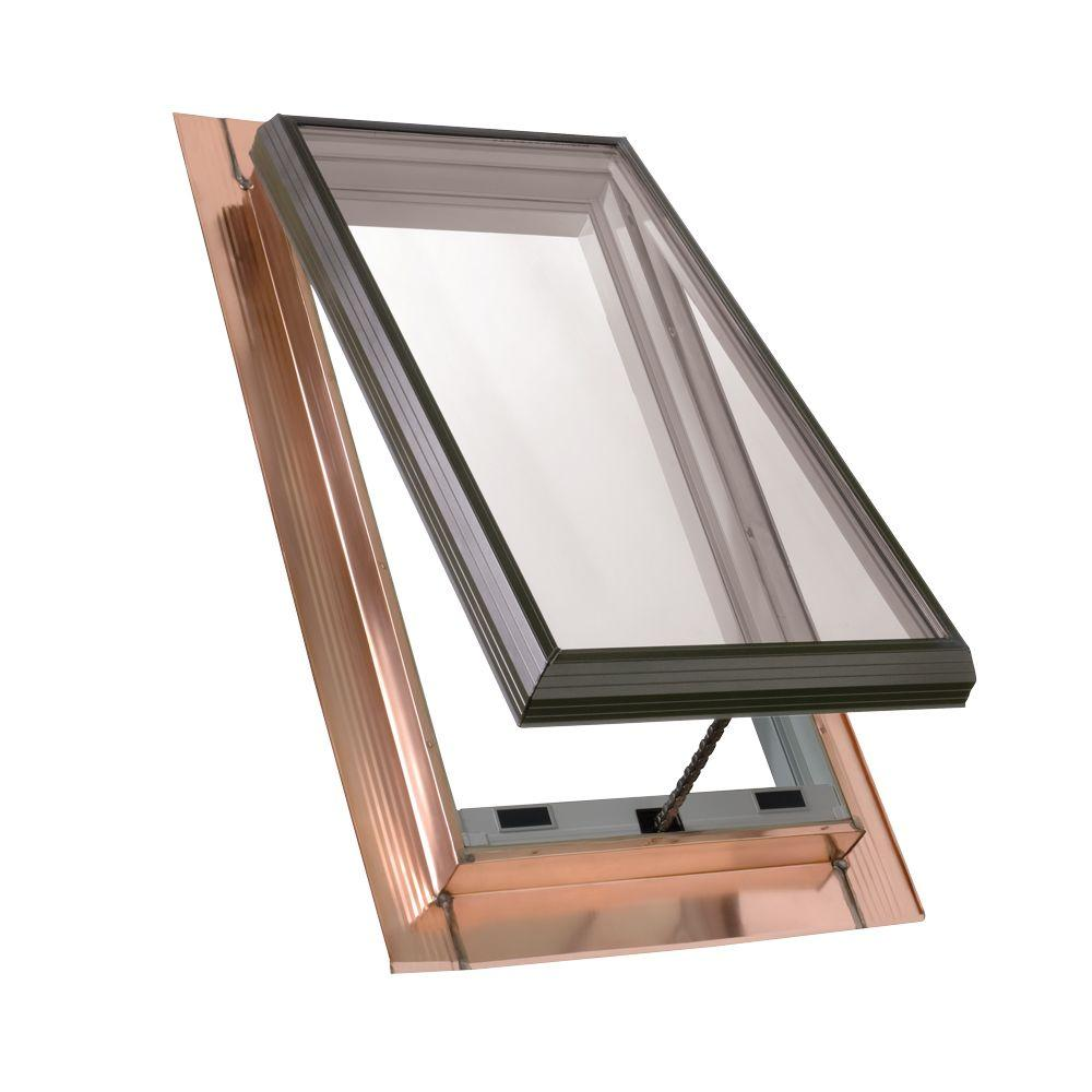 22-1/2 in. x 30-1/2 in. Venting Copper Pan-Flashed Skylight with Tempered
