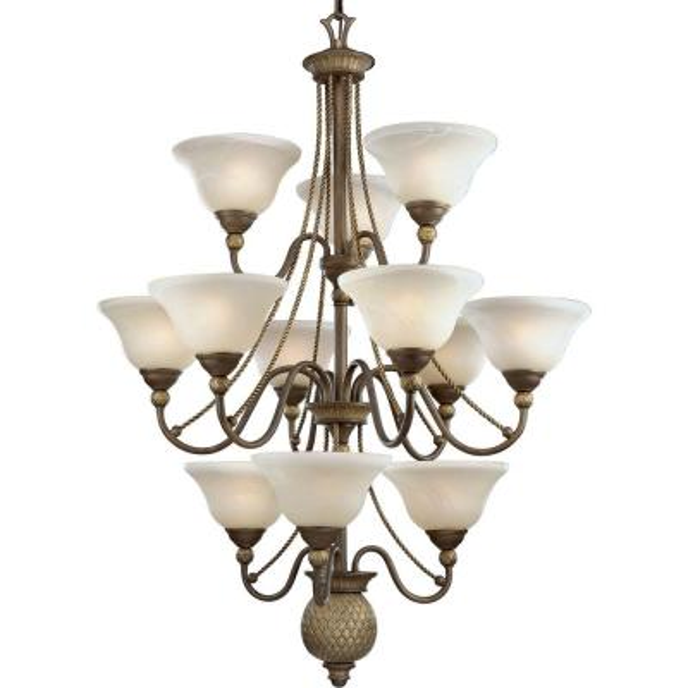Savannah Collection 12-Light Burnished Chestnut Chandelier