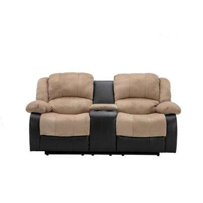 Beige Champion and PU Motion Loveseat (2 Reclining Seats) and Console