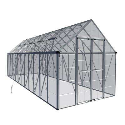 Snap and Grow 8 ft. x 24 ft. Silver Polycarbonate Greenhouse