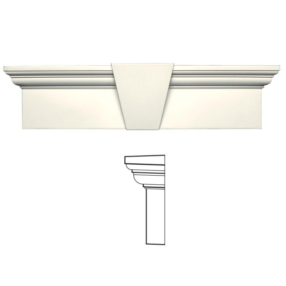 9 in. x 33-5/8 in. Flat Panel Window Header with Keystone