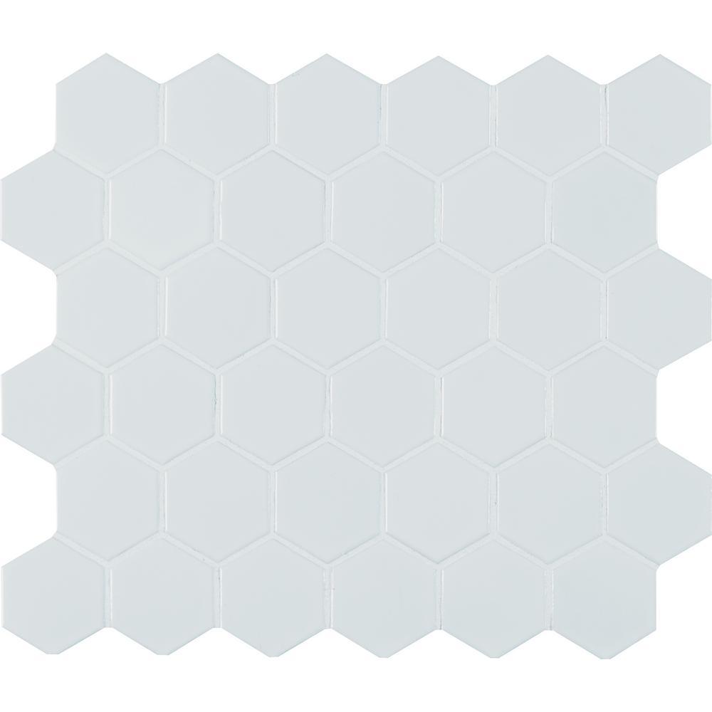Retro Bianco Hexo 12.6 in. x 11.02 in. x 6mm Matte Porcelain Mesh-Mounted Mosaic Tile (14.4 sq. ft.)