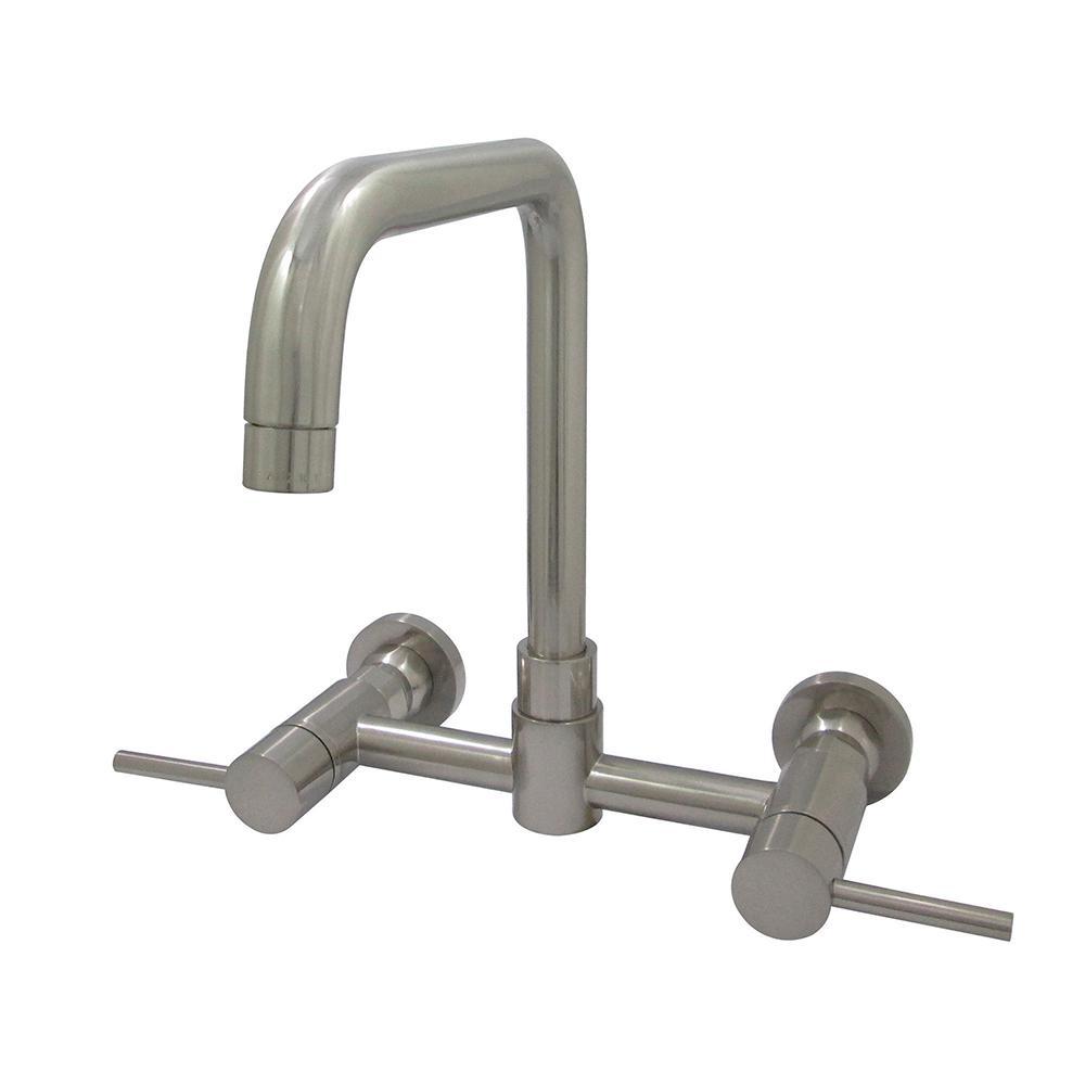 Modern 2-Handle Wall-Mount Standard Kitchen Faucet in Satin Nickel