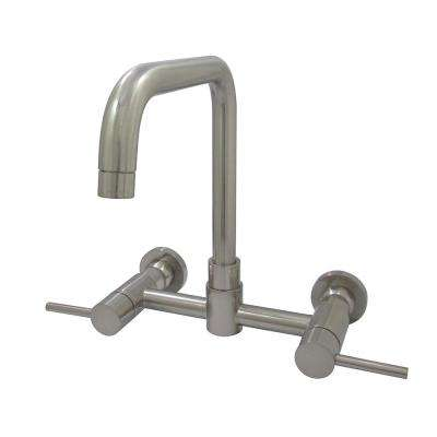 Modern 2-Handle Wall-Mount Standard Kitchen Faucet in Satin Nickel