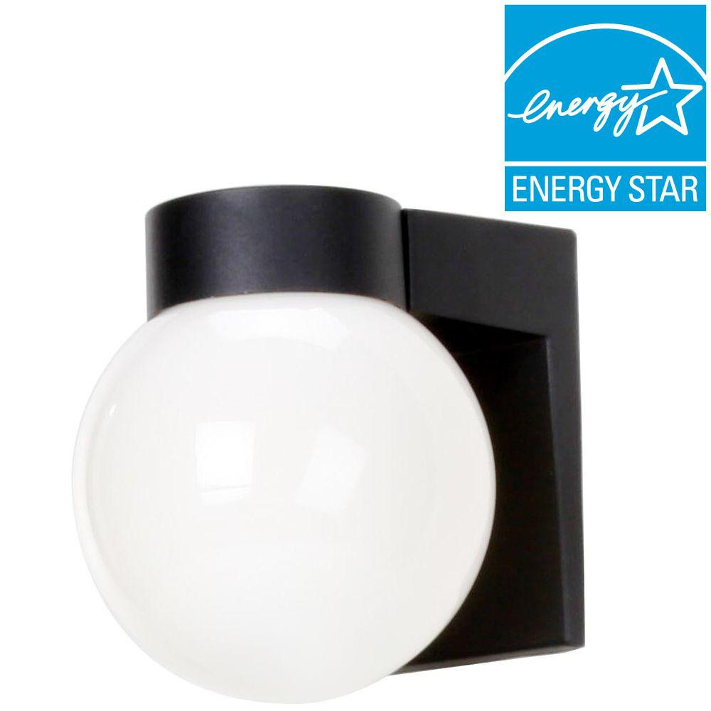 Efficient Lighting Simplicity Wall-Mount Outdoor Powder-Coat Black Sconce with Bulbs-DISCONTINUED