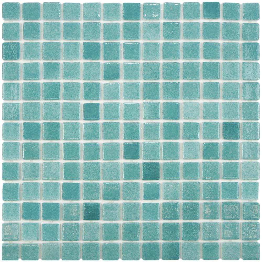 Merola Tile Ruidera Square Niebla Azul 13 in. x 13 in. x 5 mm Glass Mosaic Tile
