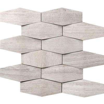 Metro Cream Prism 12 in. x 12 in. x 15 mm Limestone Mosaic Tile (1 sq. ft.)