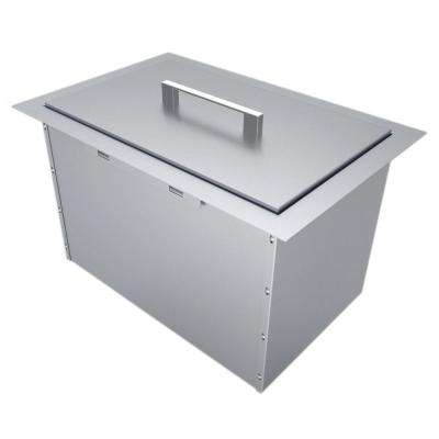 14 in. x 12 in. 304 Stainless Steel Over/Under Single Basin Insulated Wall Ice Chest with Cover