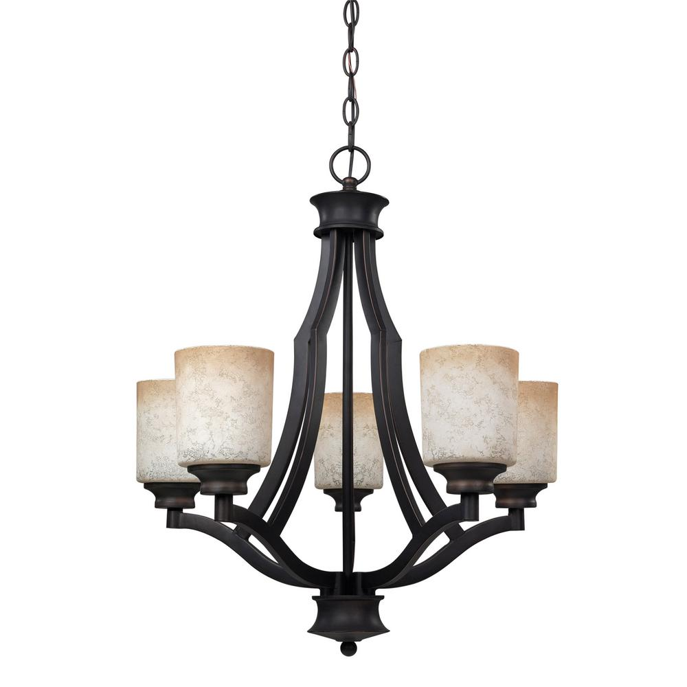 CANARM Warren 5-Light Rubbed Antique Bronze Chandelier with Tea Stained Glass Shade
