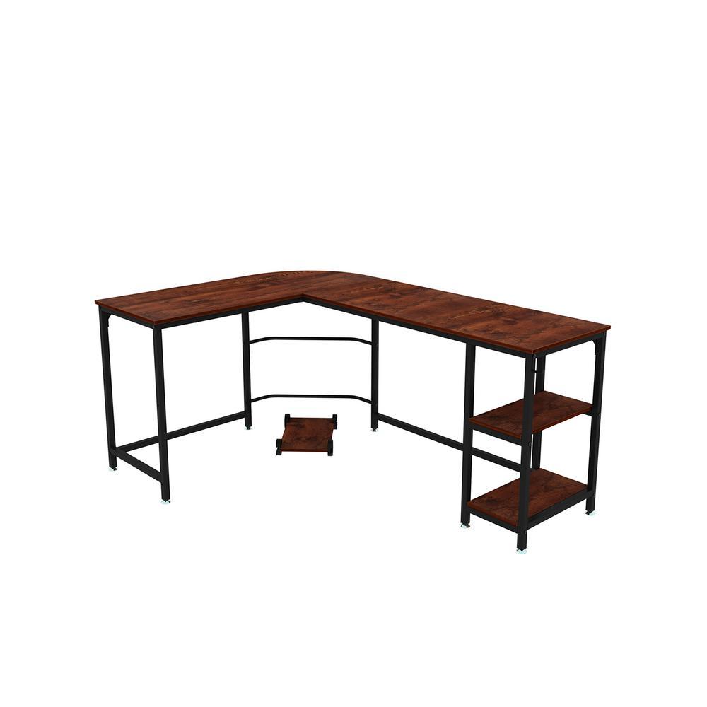 66 in. W Brown Sandalwood Modern Design L-Shaped Corner Computer Desk with Open Shelf for Home Office