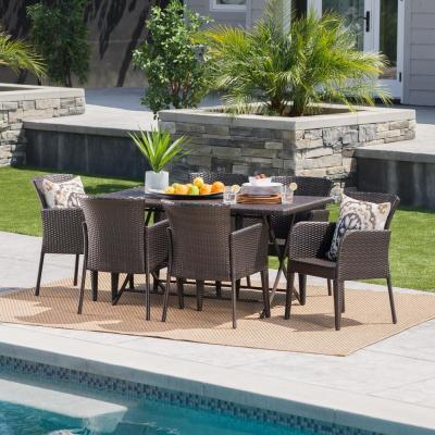 Johanna Multi-Brown 7-Piece Wicker Outdoor Dining Set with Foldable Table