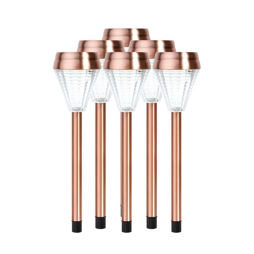 Copper Outdoor Integrated LED Landscape Path Light (Set of 6)