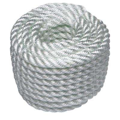 1/2 in. x 50 ft. Nylon Twist Rope, White