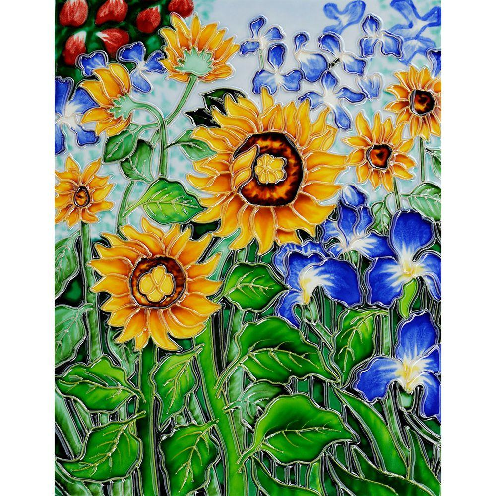 overstockArt Van Gogh, Sunflowers and Irises 11 in. x 14 in. (artist interpretation) Wall Tile-DISCONTINUED