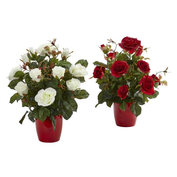 Nearly Natural Indoor Rose Artificial Plant in Red Planter (Set of 2)