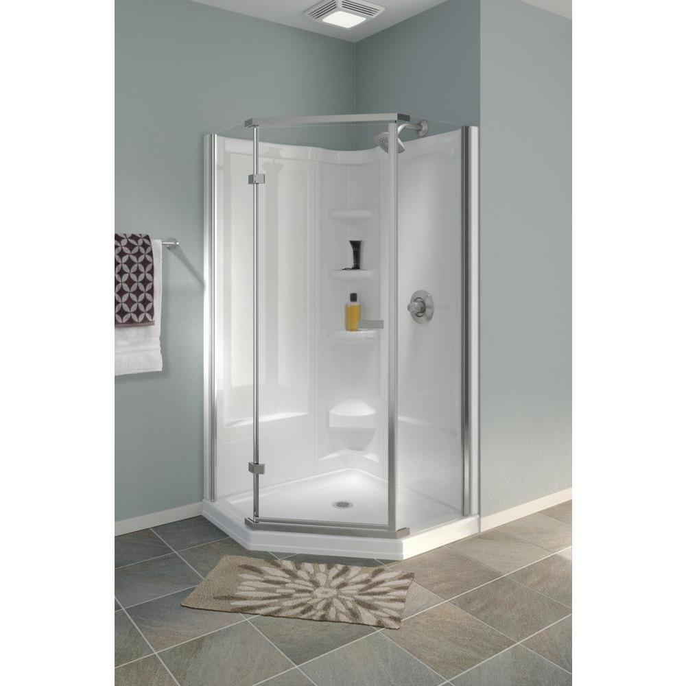 38 in. x 38 in. x 72 in. Semi-Frameless Neo Angle Corner Shower in White