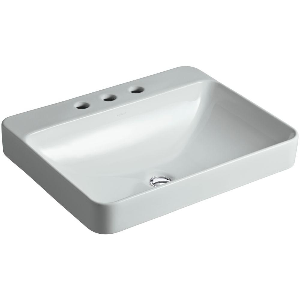 KOHLER Vox Rectangle Above Counter Vitreous China Vessel Sink In Ice Grey  With Overflow Drain