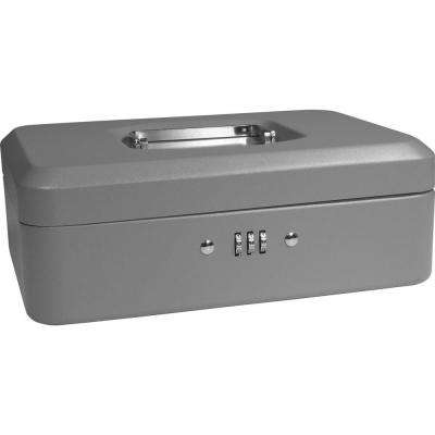 0.09 cu. ft. Steel Cash Box Safe with Combination Lock, Grey