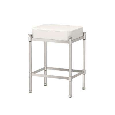 14.25 in. x 19.5 in. Bath Vanity Stool in Satin Nickel