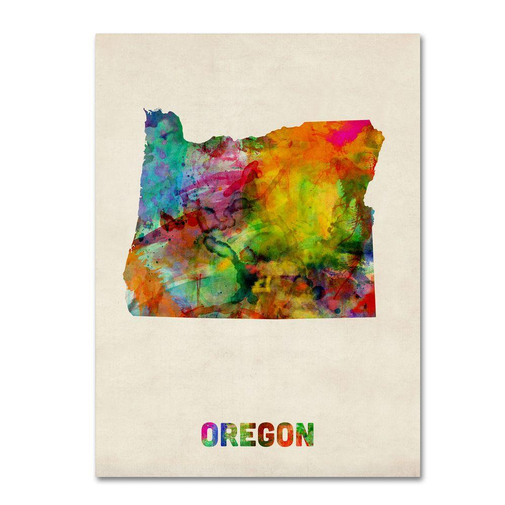 14 in. x 19 in. Oregon Map Canvas Art