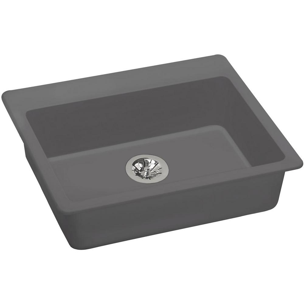 Elkay Quartz Classic Perfect Drain Drop-In Composite 25 in. Single Bowl ADA  Compliant Kitchen Sink in Greystone