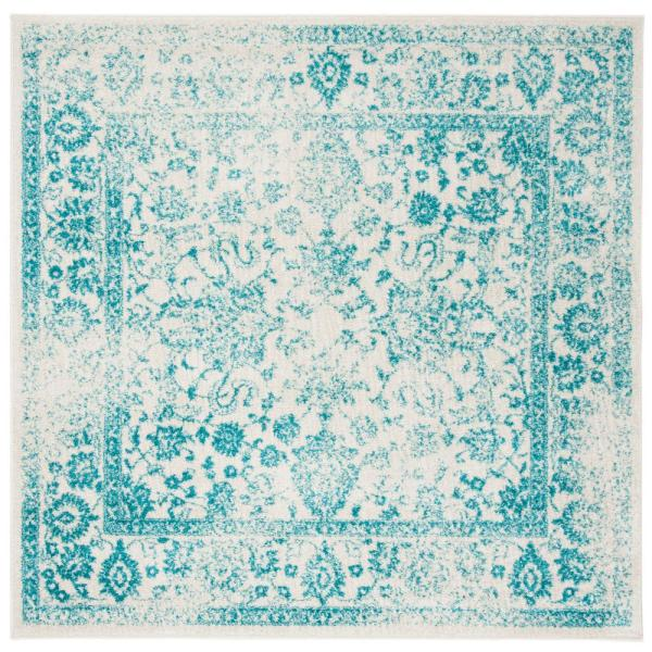 Adirondack Ivory/Teal 6 ft. x 6 ft. Square Area Rug