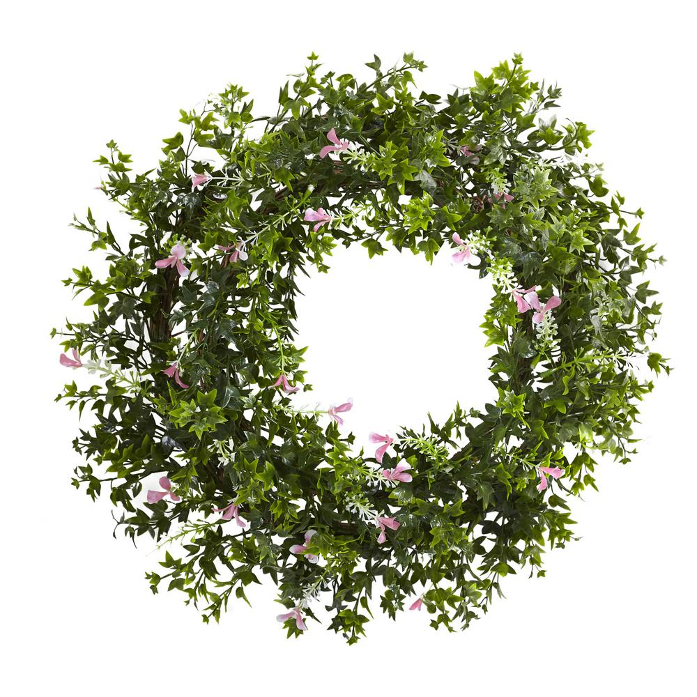 Nearly Natural Mini Ivy And Floral 18 In Double Ring Wreath With Twig Base 4543 The Home Depot