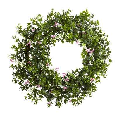 Mini Ivy and Floral 18 in. Double Ring Wreath with Twig Base