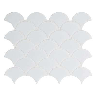 Retro Bianco Scallop 13.11 in. x 9.96 in. x 6 mm Porcelain Mesh-Mounted Mosaic Tile