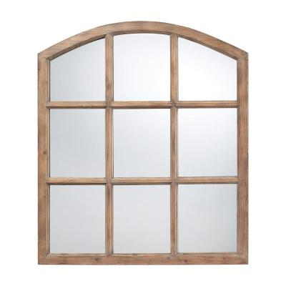 Medium Arch Light Oak Mirror (37 in. H x 33 in. W)
