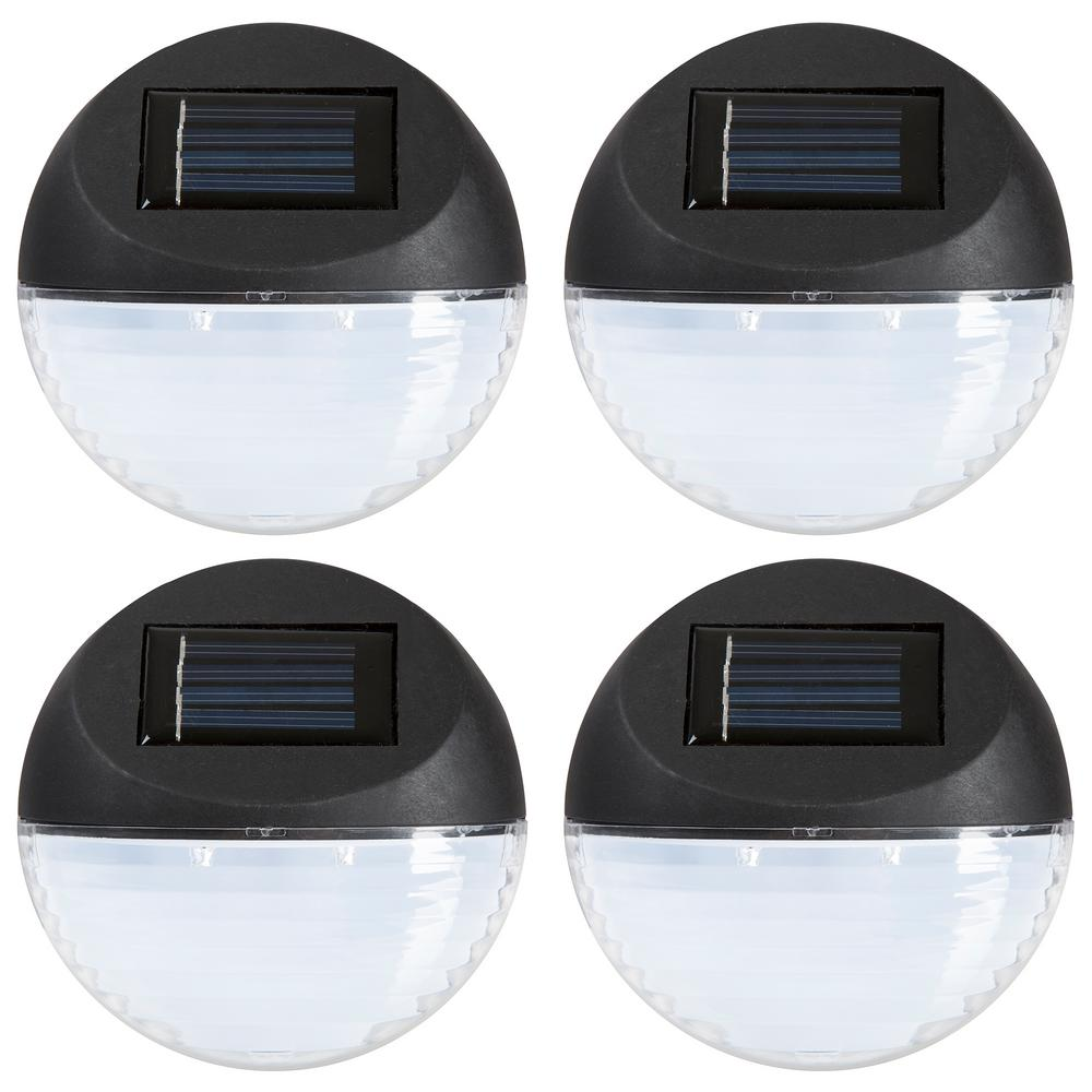 Pure Garden Solar Powered Black Round LED Light (4 Pack)