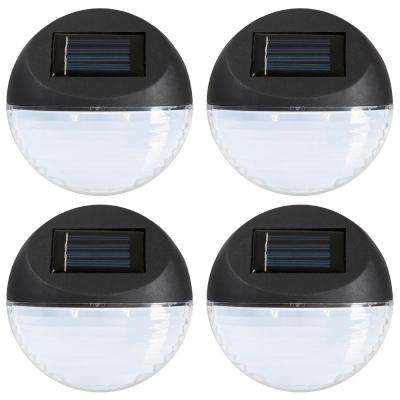 Solar Powered Black Round LED Light (4-Pack)