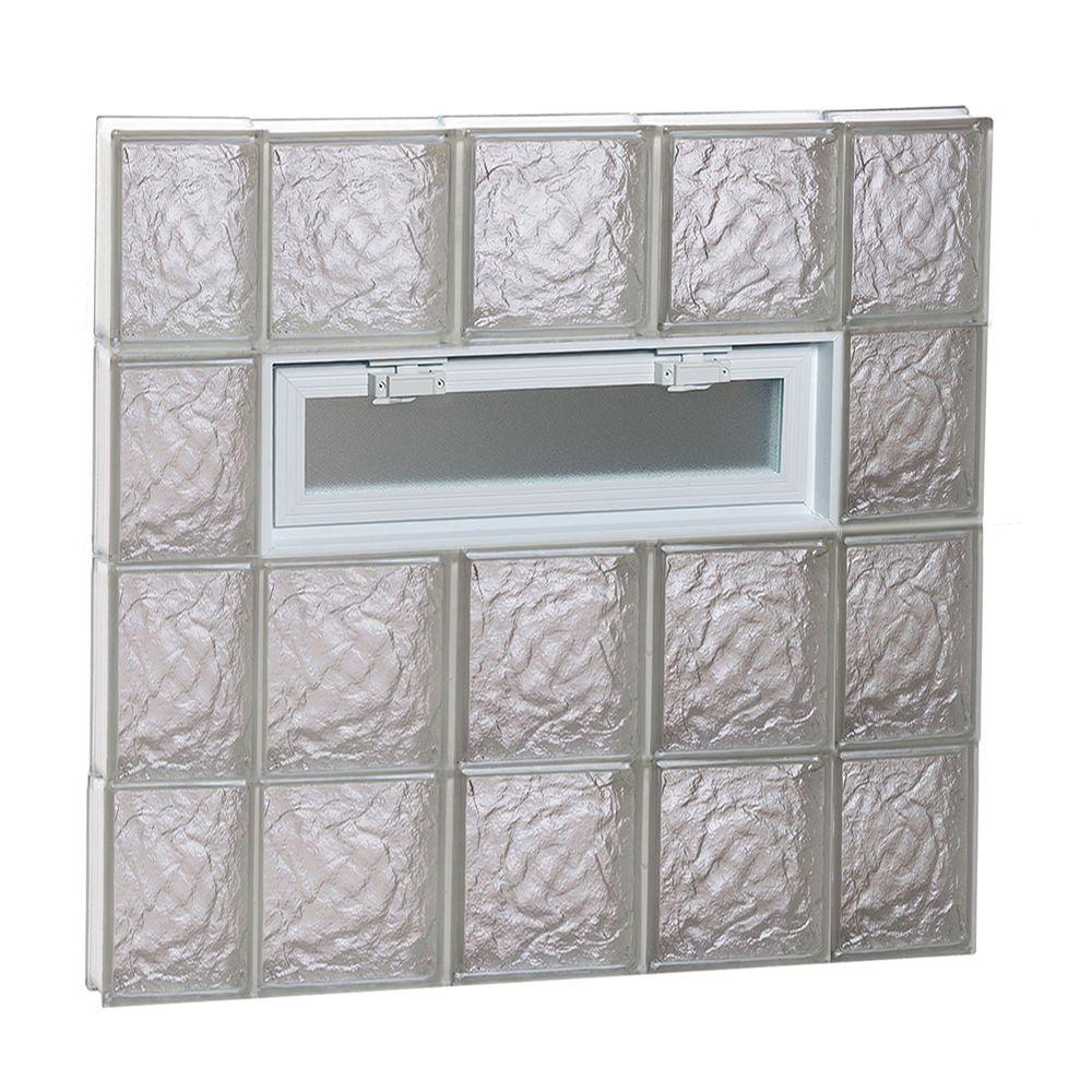 Clearly Secure 34.75 in. x 31 in. x 3.125 in. Frameless Ice Pattern Vented Glass Block Window