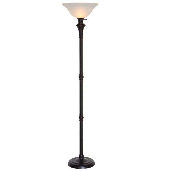 72.75 in. Bronze Floor Lamp with White Alabaster Shade
