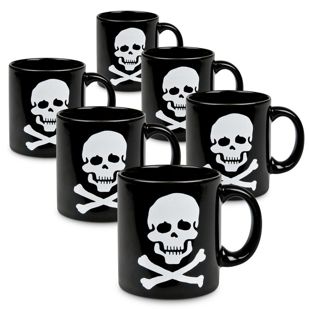 Waechtersbach 6-Piece Skull and Crossbones Black Ceramic Mug Set