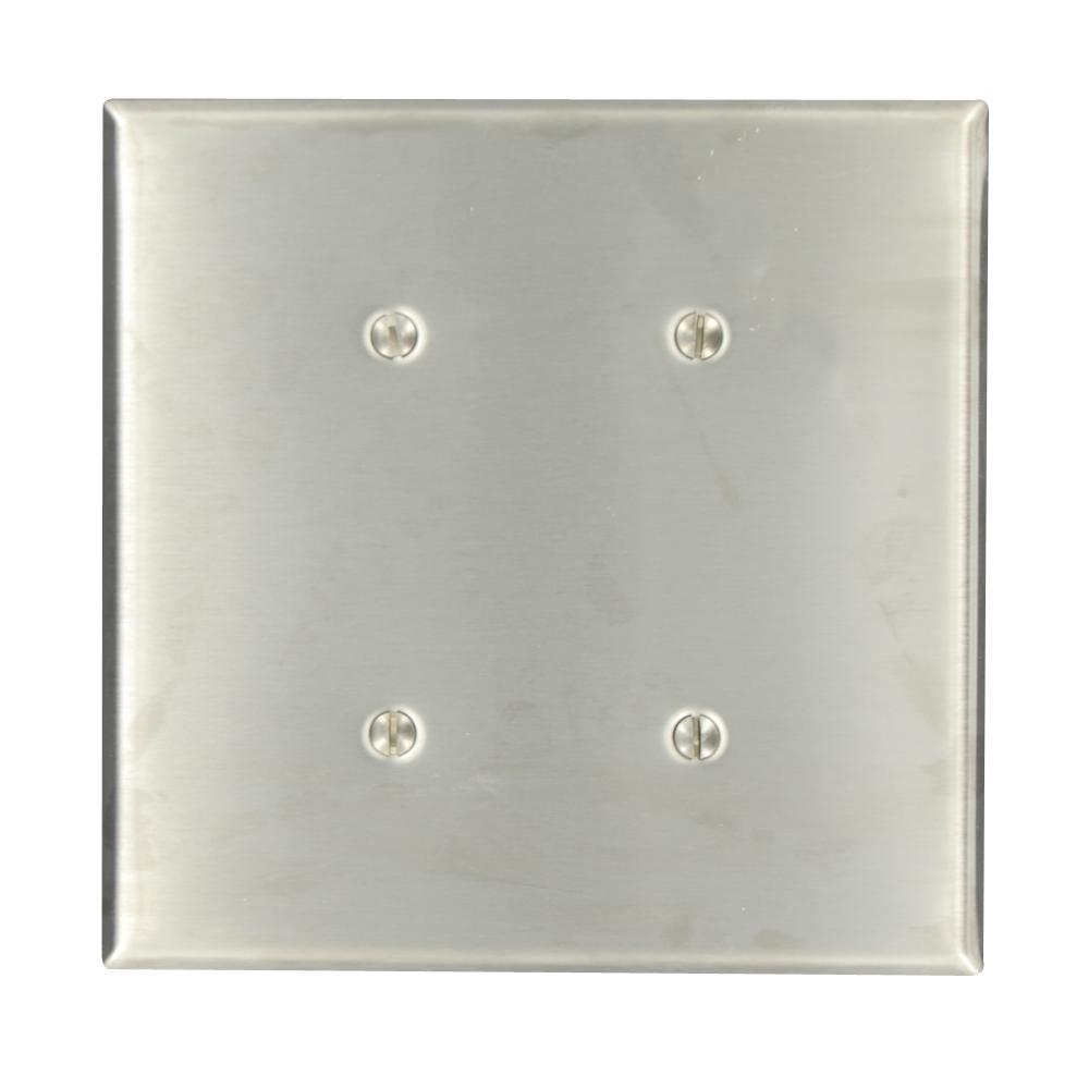 2-Gang No Device Blank Wallplate, Standard Size, 302 Stainless Steel, Strap